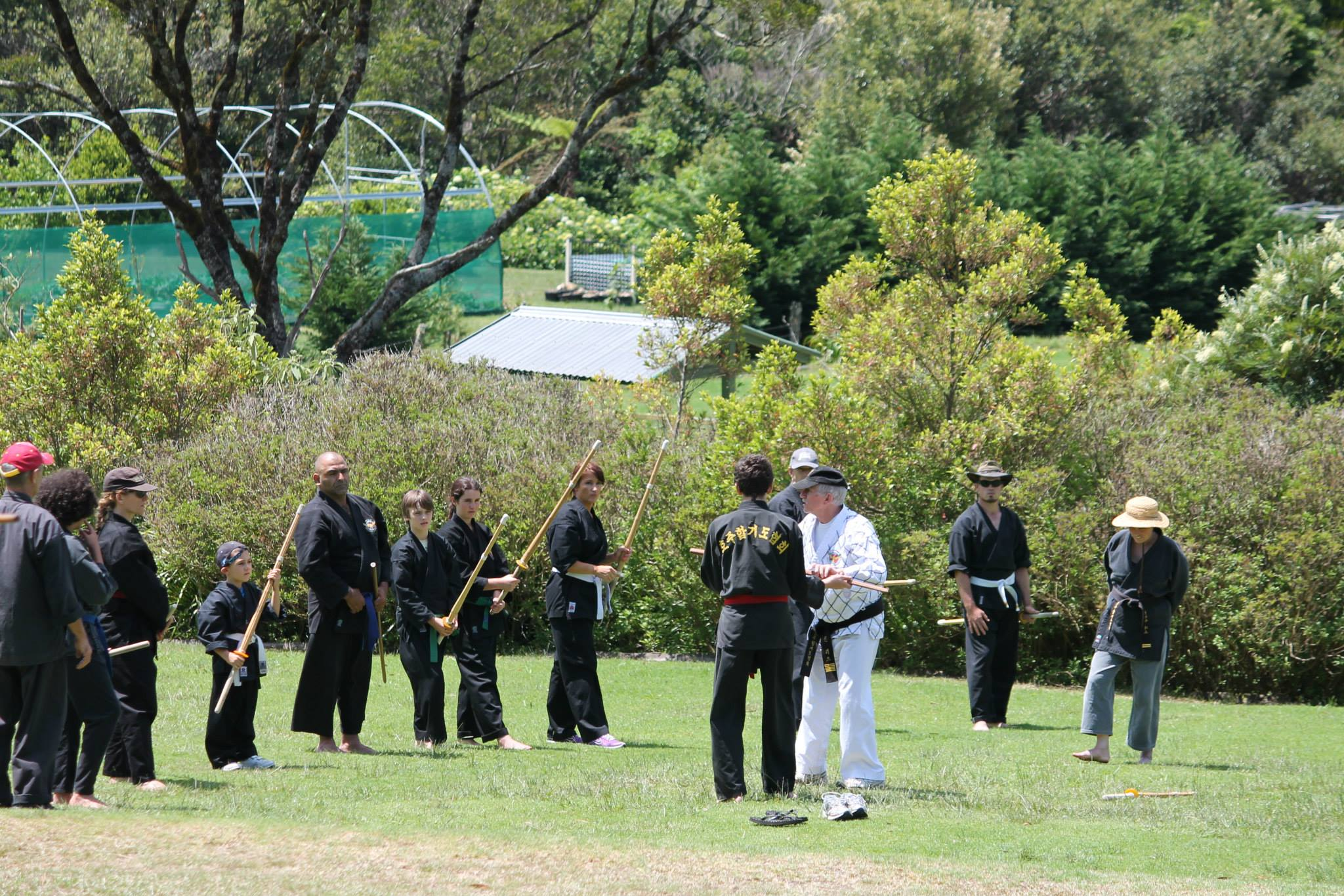 Hapkido training on the sports field